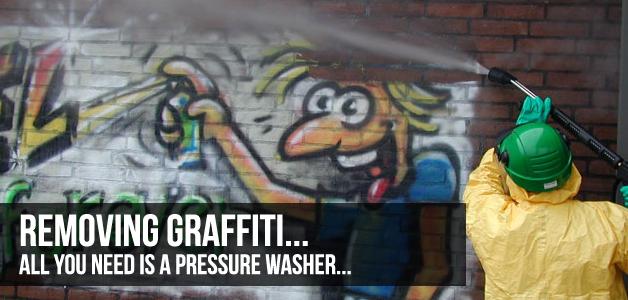 remove Graffiti With A Pressure Washer